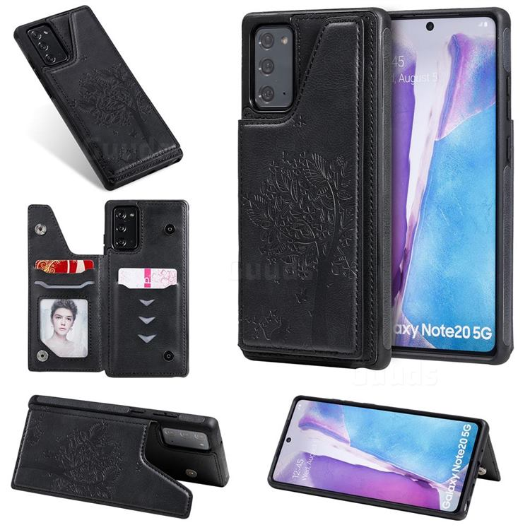 Luxury Tree and Cat Multifunction Magnetic Card Slots Stand Leather Phone Back Cover for Samsung Galaxy Note 20 - Black