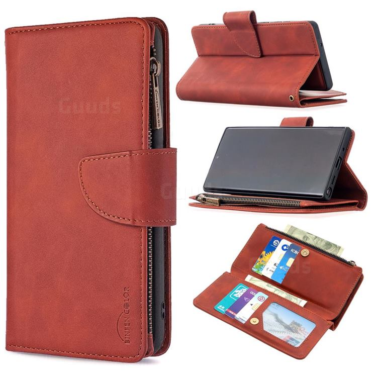 Binfen Color BF02 Sensory Buckle Zipper Multifunction Leather Phone Wallet for Samsung Galaxy Note 20 - Brown