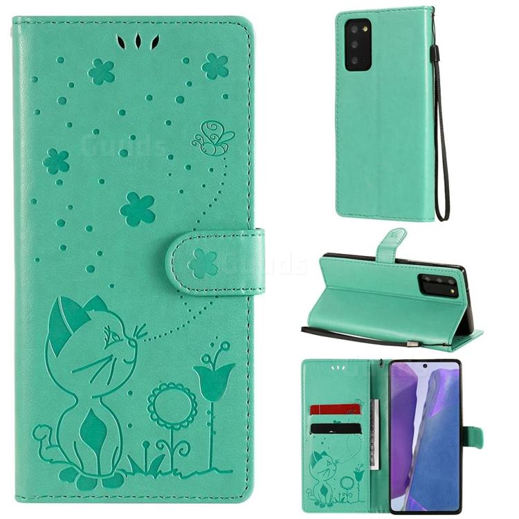 Embossing Bee and Cat Leather Wallet Case for Samsung Galaxy Note 20 - Green