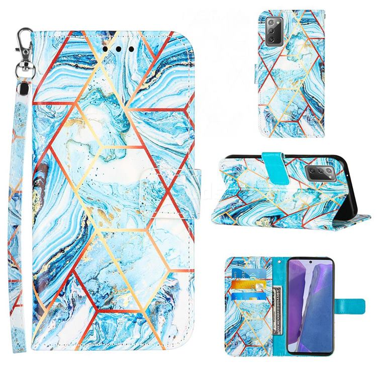 Lake Blue Stitching Color Marble Leather Wallet Case for Samsung Galaxy Note 20