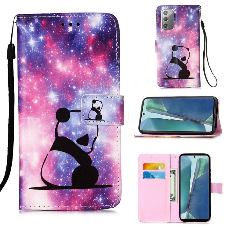 Panda Baby Matte Leather Wallet Phone Case for Samsung Galaxy Note 20