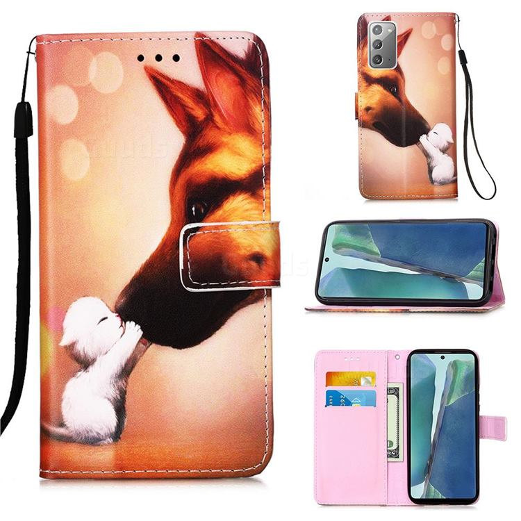Hound Kiss Matte Leather Wallet Phone Case for Samsung Galaxy Note 20