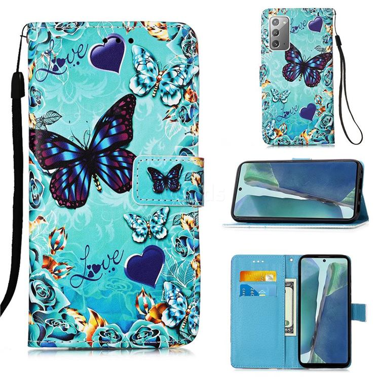 Love Butterfly Matte Leather Wallet Phone Case for Samsung Galaxy Note 20