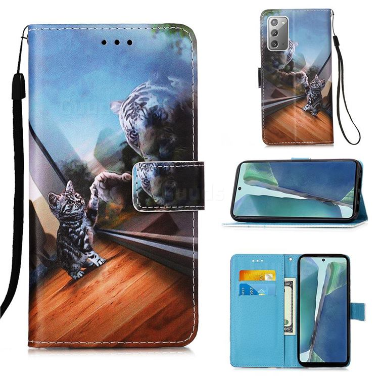 Mirror Cat Matte Leather Wallet Phone Case for Samsung Galaxy Note 20
