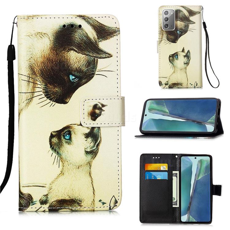Cat Confrontation Matte Leather Wallet Phone Case for Samsung Galaxy Note 20