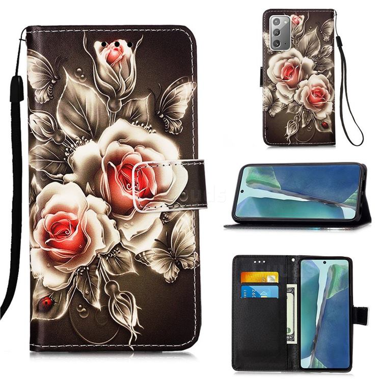 Black Rose Matte Leather Wallet Phone Case for Samsung Galaxy Note 20