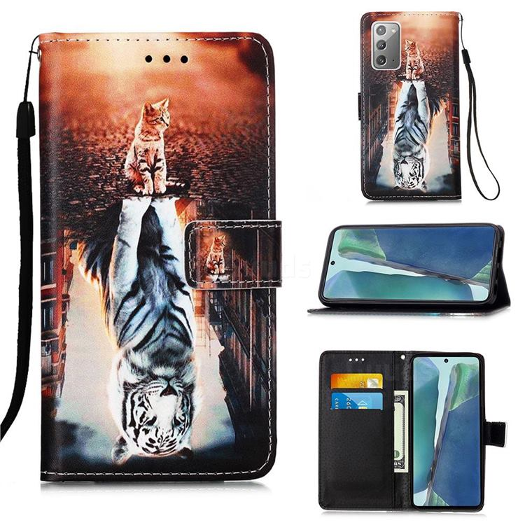 Cat and Tiger Matte Leather Wallet Phone Case for Samsung Galaxy Note 20