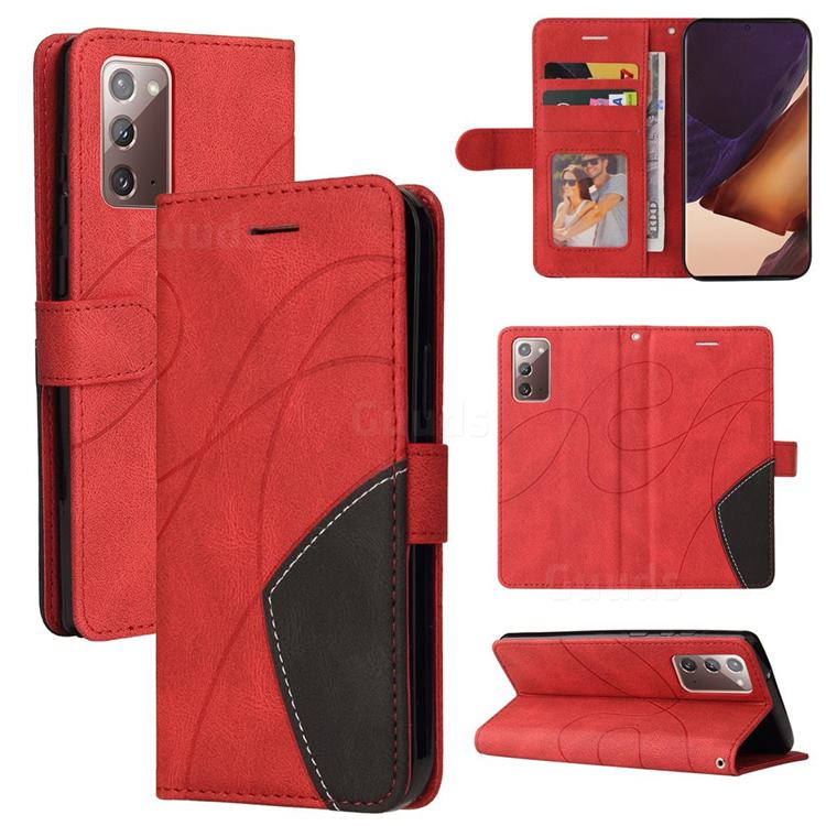 Luxury Two-color Stitching Leather Wallet Case Cover for Samsung Galaxy Note 20 - Red
