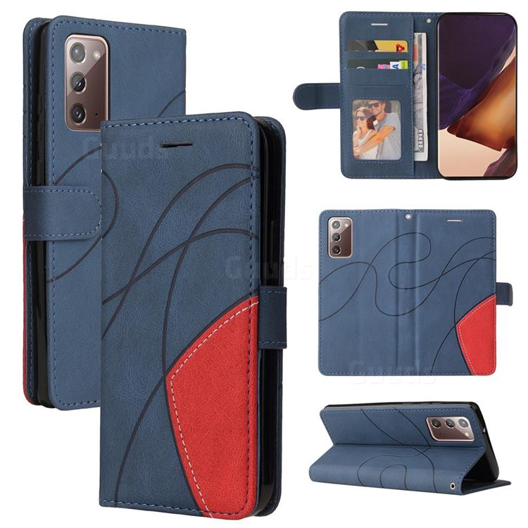 Luxury Two-color Stitching Leather Wallet Case Cover for Samsung Galaxy Note 20 - Blue