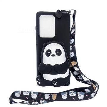 Cute Panda Neck Lanyard Zipper Wallet Silicone Case for Samsung Galaxy Note 20 Ultra