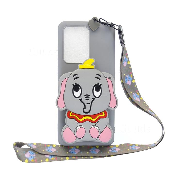 Gray Elephant Neck Lanyard Zipper Wallet Silicone Case for Samsung Galaxy Note 20 Ultra