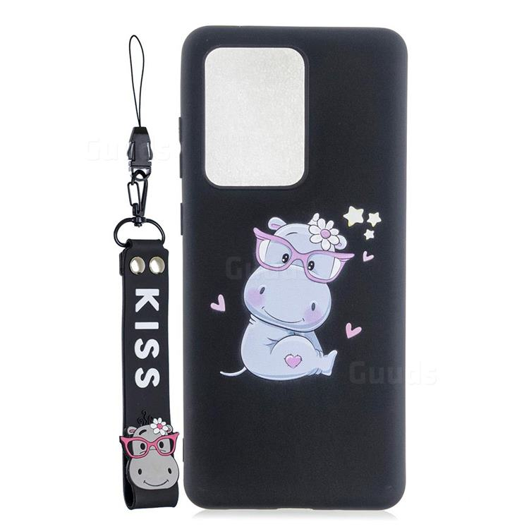 Black Flower Hippo Soft Kiss Candy Hand Strap Silicone Case for Samsung Galaxy Note 20 Ultra