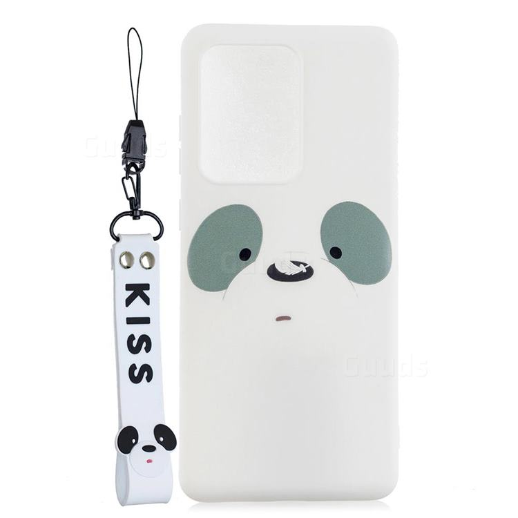 White Feather Panda Soft Kiss Candy Hand Strap Silicone Case for Samsung Galaxy Note 20 Ultra