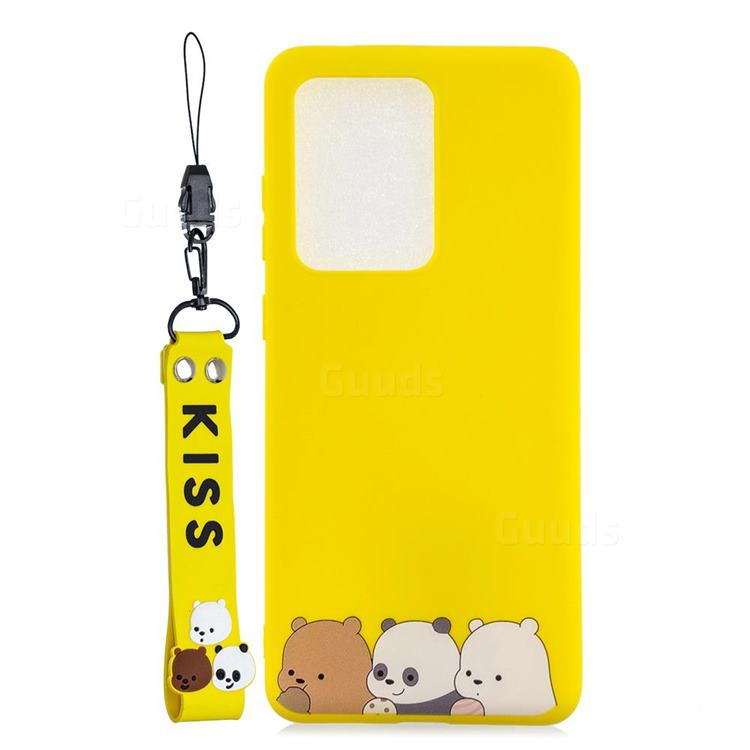Yellow Bear Family Soft Kiss Candy Hand Strap Silicone Case for Samsung Galaxy Note 20 Ultra