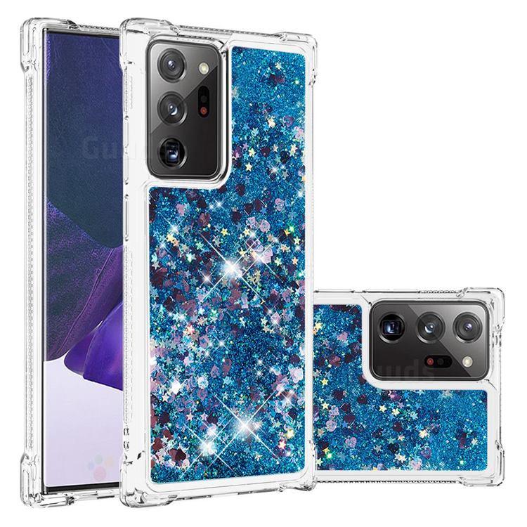 Dynamic Liquid Glitter Sand Quicksand TPU Case for Samsung Galaxy Note 20 Ultra - Blue Love Heart