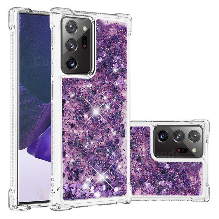 Dynamic Liquid Glitter Sand Quicksand Star TPU Case for Samsung Galaxy Note 20 Ultra - Purple