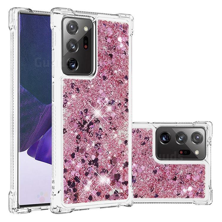 Dynamic Liquid Glitter Sand Quicksand Star TPU Case for Samsung Galaxy Note 20 Ultra - Diamond Rose