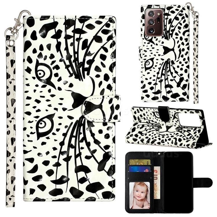 Leopard Panther 3D Leather Phone Holster Wallet Case for Samsung Galaxy Note 20 Ultra