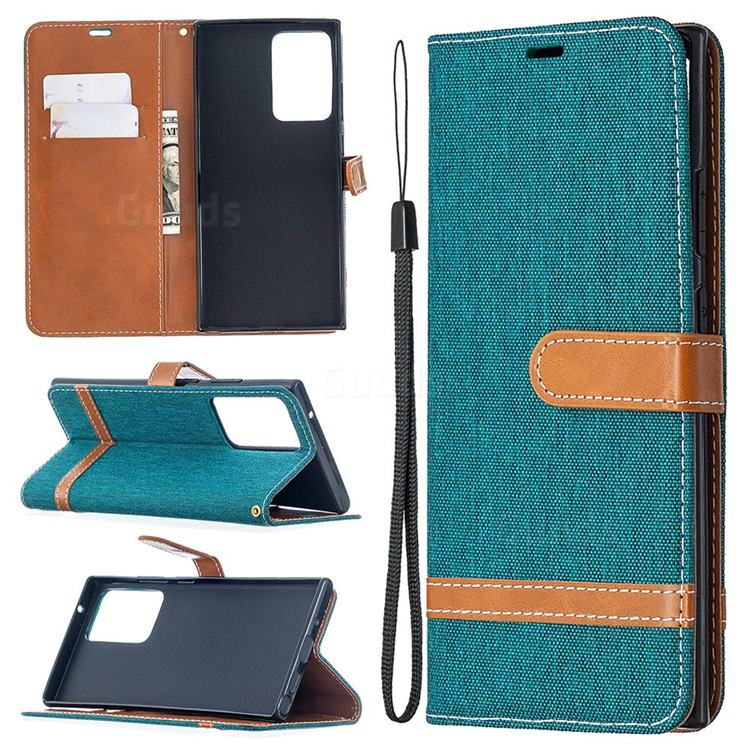 Jeans Cowboy Denim Leather Wallet Case for Samsung Galaxy Note 20 Ultra - Green