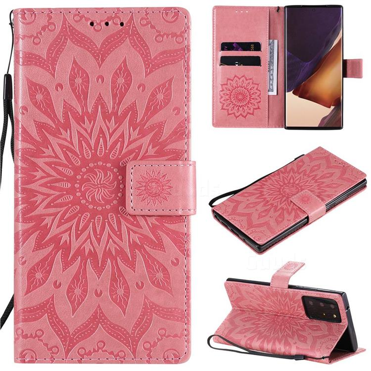 Embossing Sunflower Leather Wallet Case for Samsung Galaxy Note 20 Ultra - Pink