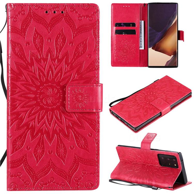 Embossing Sunflower Leather Wallet Case for Samsung Galaxy Note 20 Ultra - Red