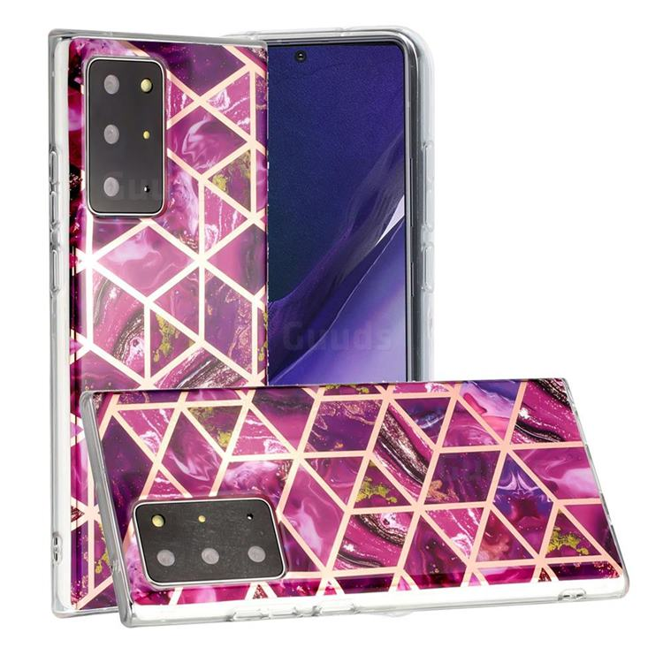 Purple Rhombus Galvanized Rose Gold Marble Phone Back Cover for Samsung Galaxy Note 20 Ultra