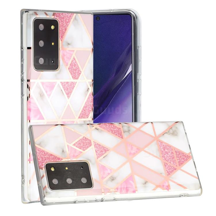 Pink Rhombus Galvanized Rose Gold Marble Phone Back Cover for Samsung Galaxy Note 20 Ultra
