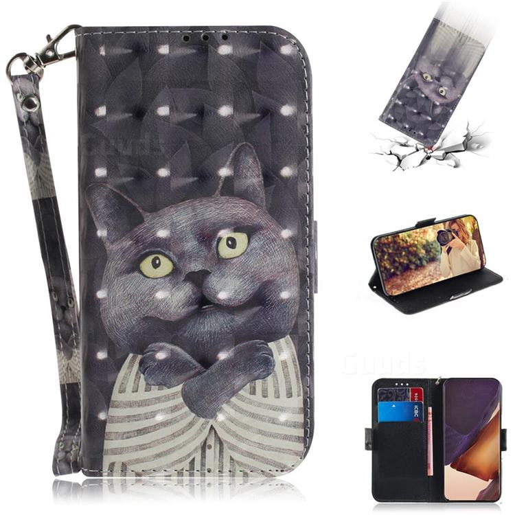 Cat Embrace 3D Painted Leather Wallet Phone Case for Samsung Galaxy Note 20 Ultra