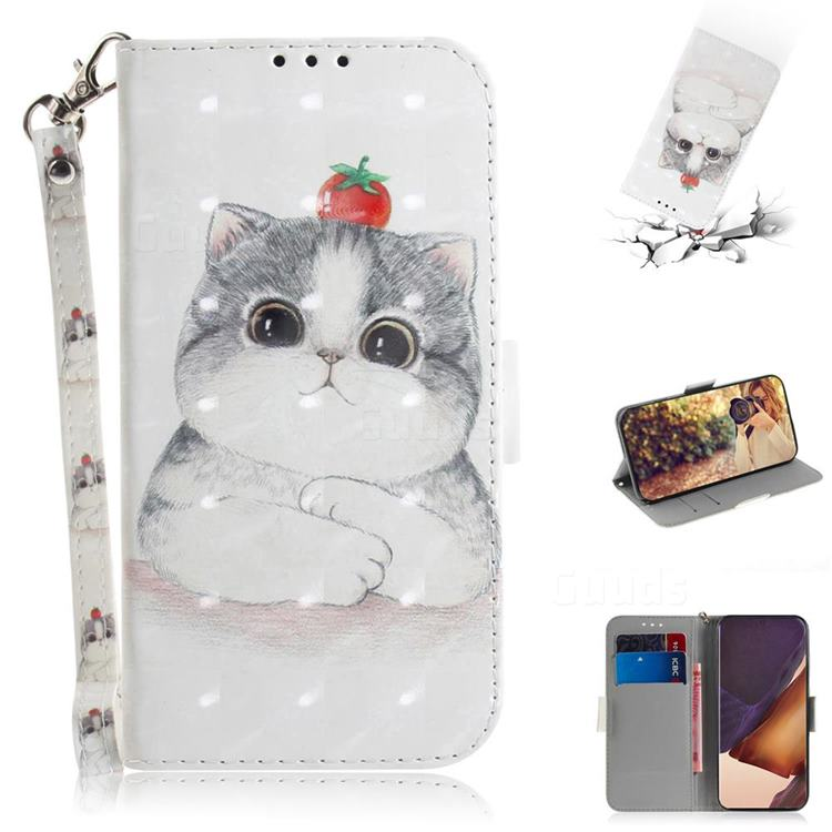 Cute Tomato Cat 3D Painted Leather Wallet Phone Case for Samsung Galaxy Note 20 Ultra