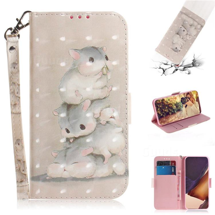 Three Squirrels 3D Painted Leather Wallet Phone Case for Samsung Galaxy Note 20 Ultra