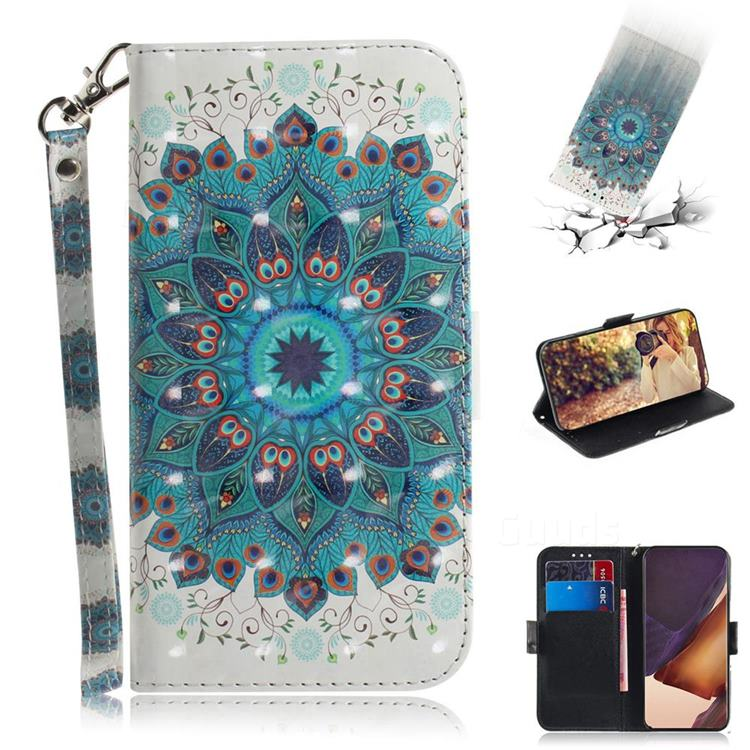 Peacock Mandala 3D Painted Leather Wallet Phone Case for Samsung Galaxy Note 20 Ultra