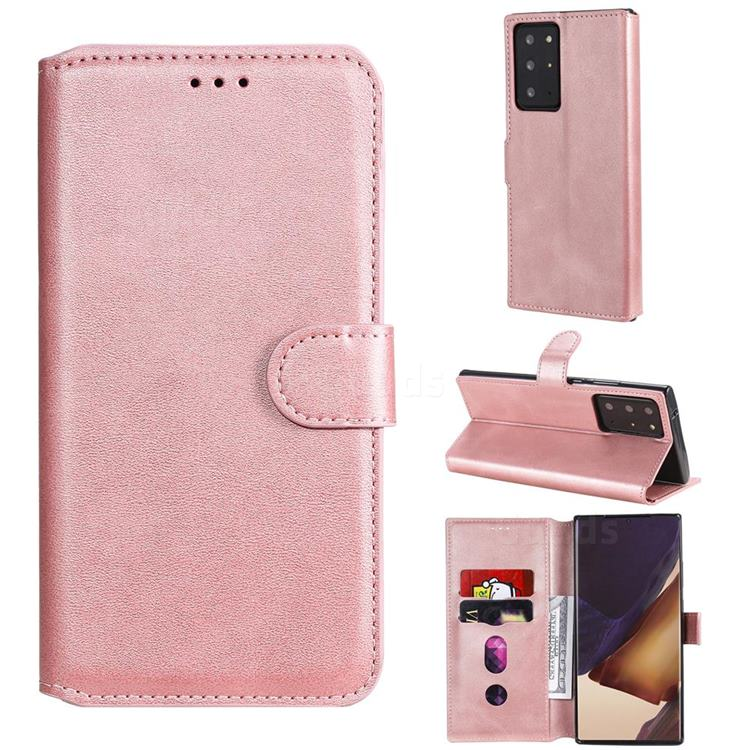 Retro Calf Matte Leather Wallet Phone Case for Samsung Galaxy Note 20 Ultra - Pink