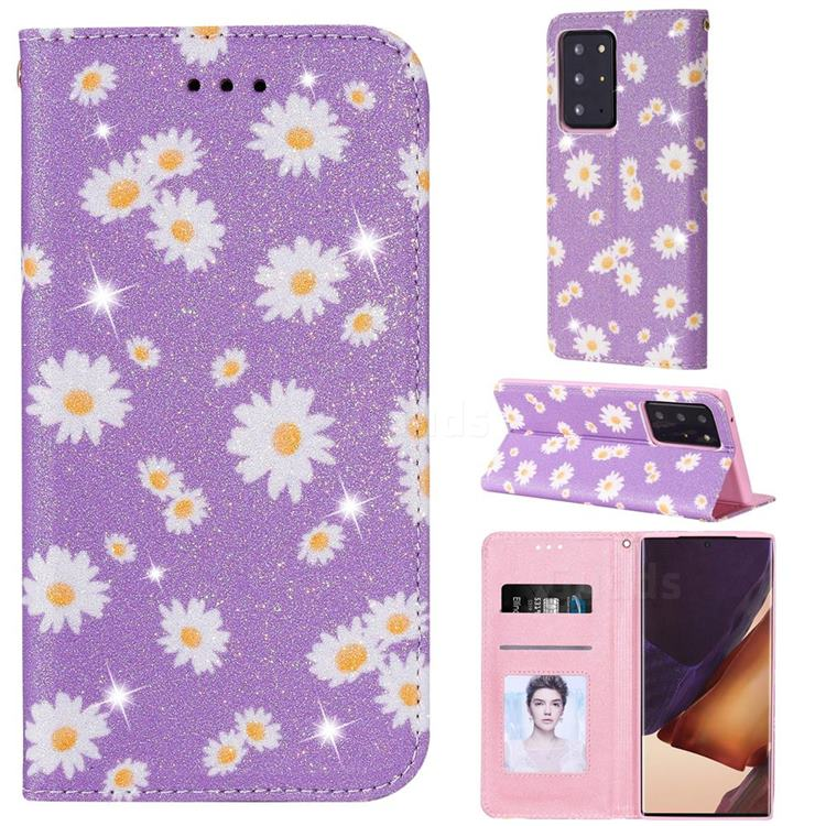 Ultra Slim Daisy Sparkle Glitter Powder Magnetic Leather Wallet Case for Samsung Galaxy Note 20 Ultra - Purple