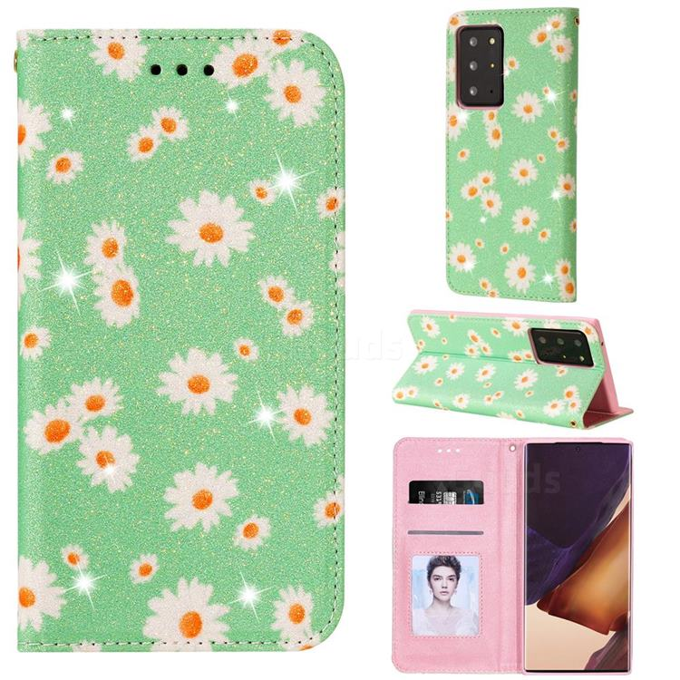 Ultra Slim Daisy Sparkle Glitter Powder Magnetic Leather Wallet Case for Samsung Galaxy Note 20 Ultra - Green
