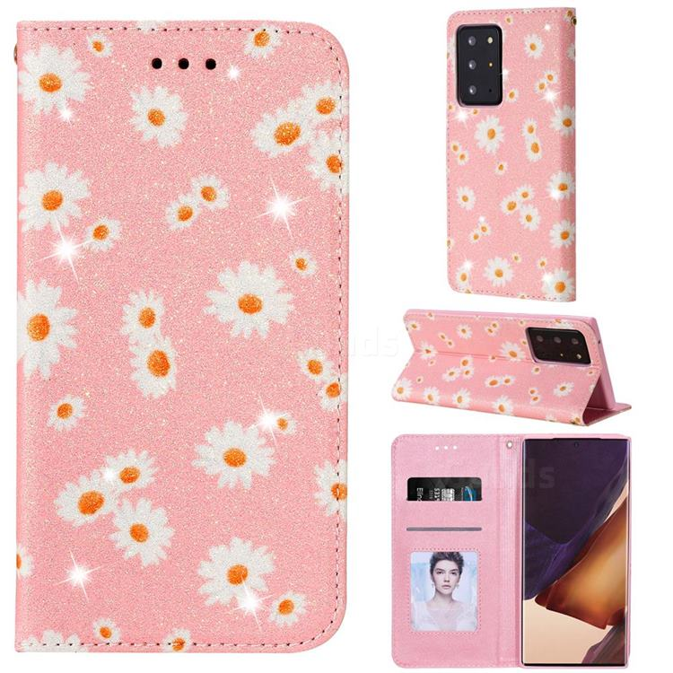 Ultra Slim Daisy Sparkle Glitter Powder Magnetic Leather Wallet Case for Samsung Galaxy Note 20 Ultra - Pink