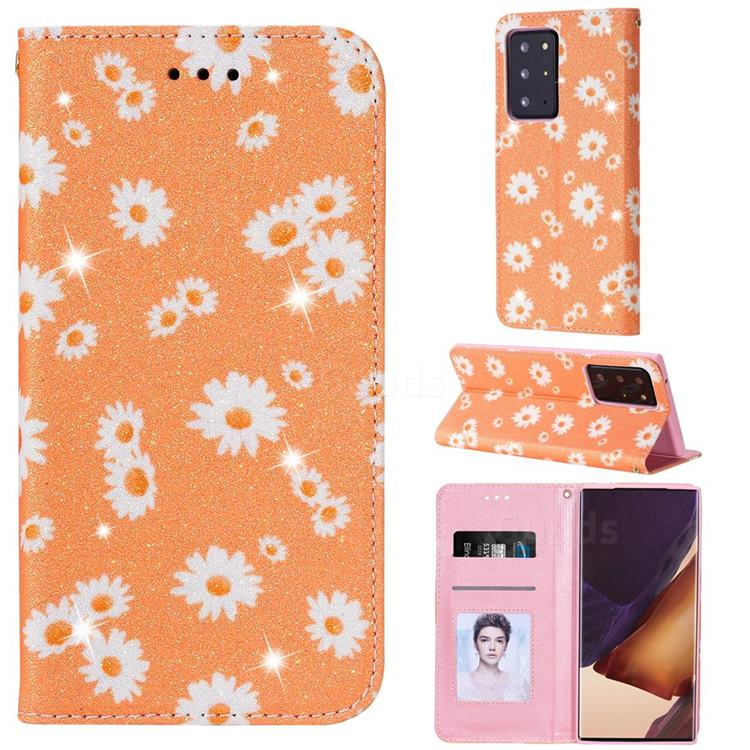 Ultra Slim Daisy Sparkle Glitter Powder Magnetic Leather Wallet Case for Samsung Galaxy Note 20 Ultra - Orange