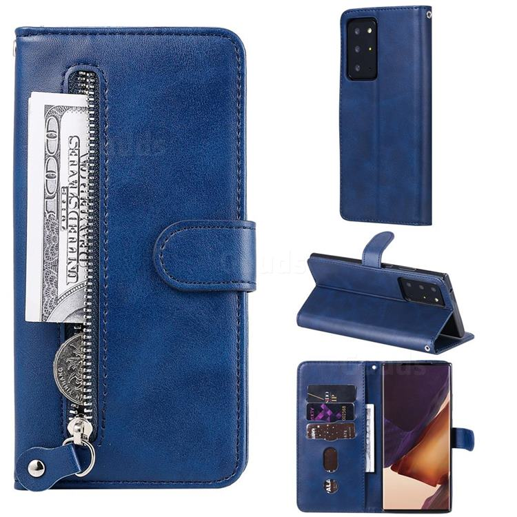 Retro Luxury Zipper Leather Phone Wallet Case for Samsung Galaxy Note 20 Ultra - Blue