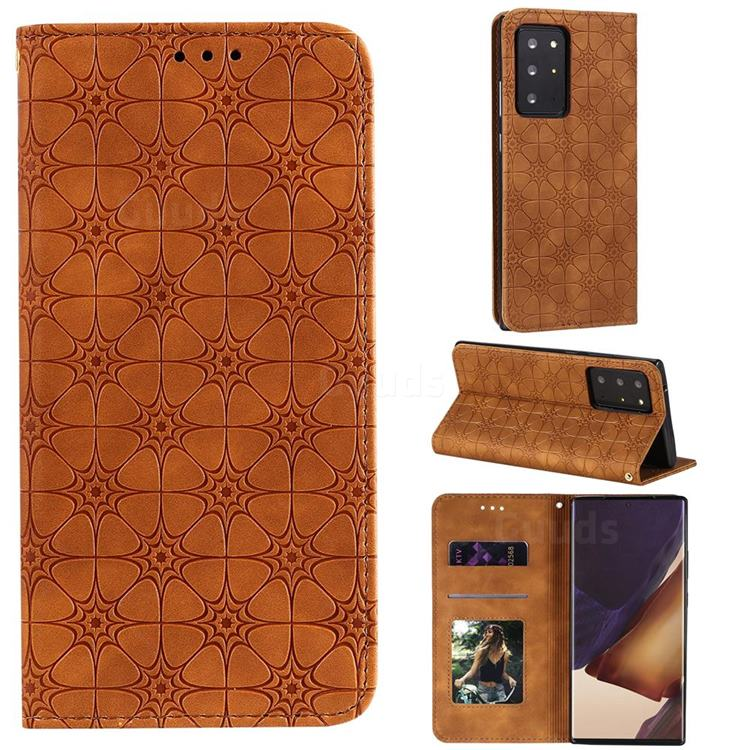 Intricate Embossing Four Leaf Clover Leather Wallet Case for Samsung Galaxy Note 20 Ultra - Yellowish Brown