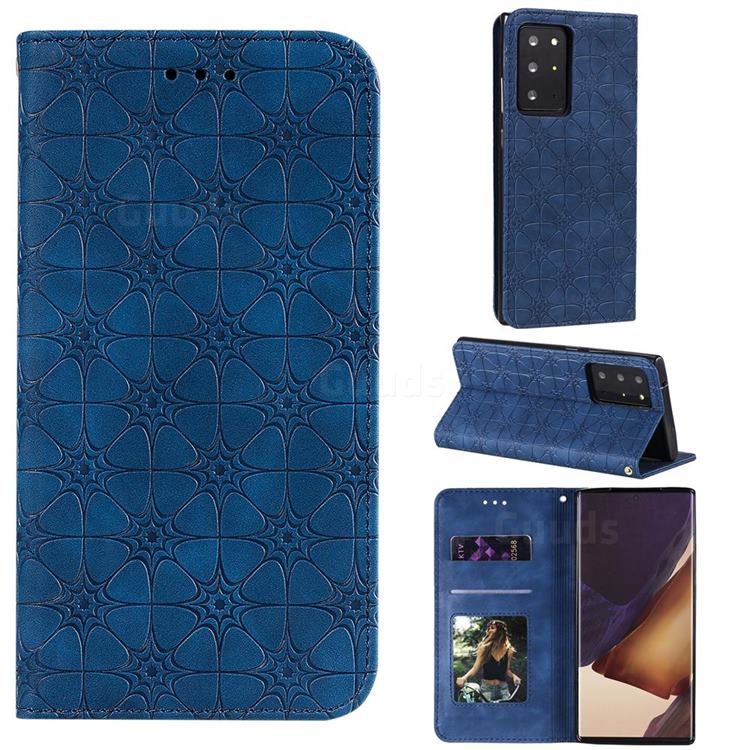 Intricate Embossing Four Leaf Clover Leather Wallet Case for Samsung Galaxy Note 20 Ultra - Dark Blue