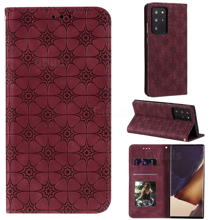 Intricate Embossing Four Leaf Clover Leather Wallet Case for Samsung Galaxy Note 20 Ultra - Claret