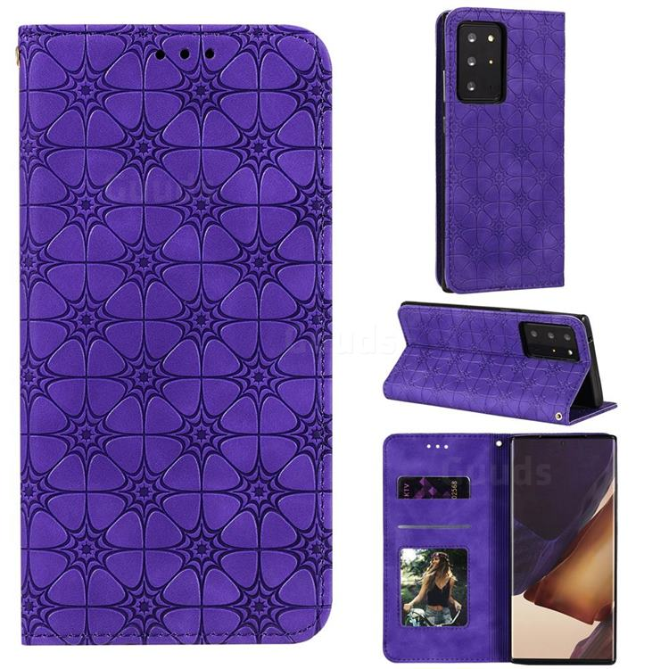 Intricate Embossing Four Leaf Clover Leather Wallet Case for Samsung Galaxy Note 20 Ultra - Purple