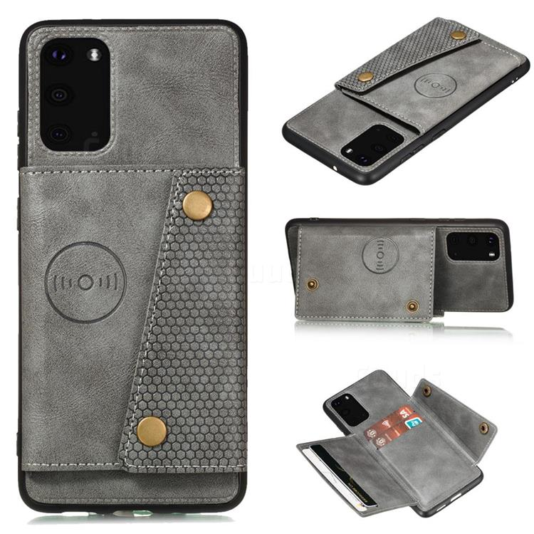 Retro Multifunction Card Slots Stand Leather Coated Phone Back Cover for Samsung Galaxy Note 20 Ultra - Gray