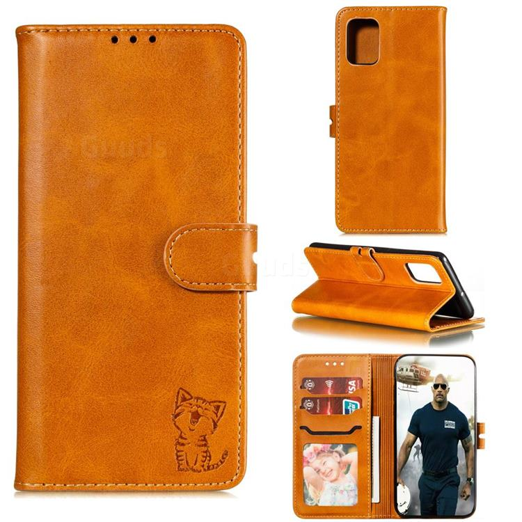 Embossing Happy Cat Leather Wallet Case for Samsung Galaxy Note 20 Ultra - Yellow