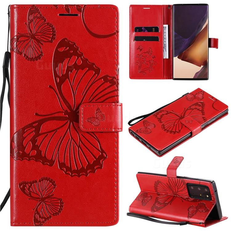 Embossing 3D Butterfly Leather Wallet Case for Samsung Galaxy Note 20 Ultra - Red
