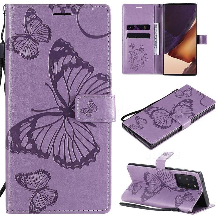 Embossing 3D Butterfly Leather Wallet Case for Samsung Galaxy Note 20 Ultra - Purple