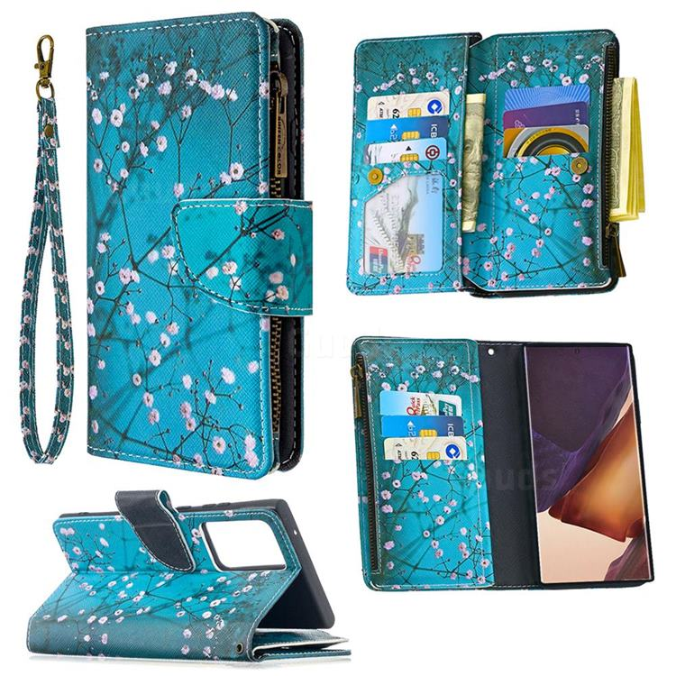 Blue Plum Binfen Color BF03 Retro Zipper Leather Wallet Phone Case for Samsung Galaxy Note 20 Ultra