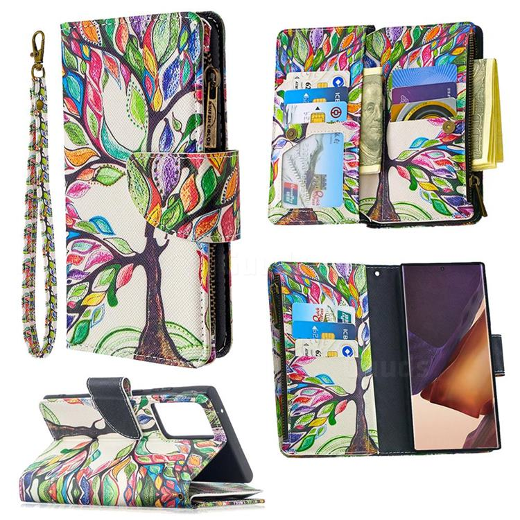 The Tree of Life Binfen Color BF03 Retro Zipper Leather Wallet Phone Case for Samsung Galaxy Note 20 Ultra