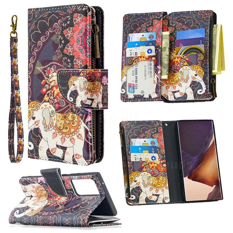 Totem Flower Elephant Binfen Color BF03 Retro Zipper Leather Wallet Phone Case for Samsung Galaxy Note 20 Ultra