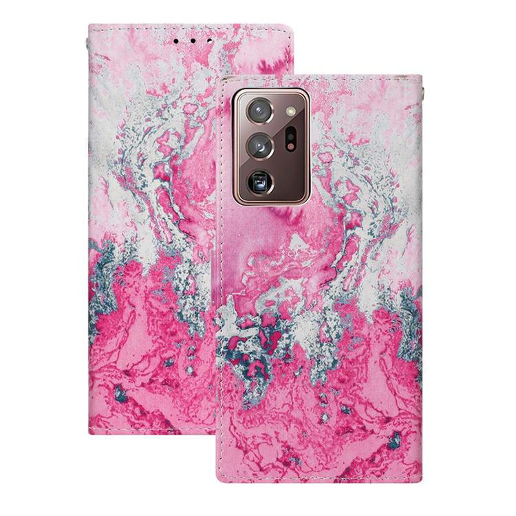 Pink Seawater PU Leather Wallet Case for Samsung Galaxy Note 20 Ultra