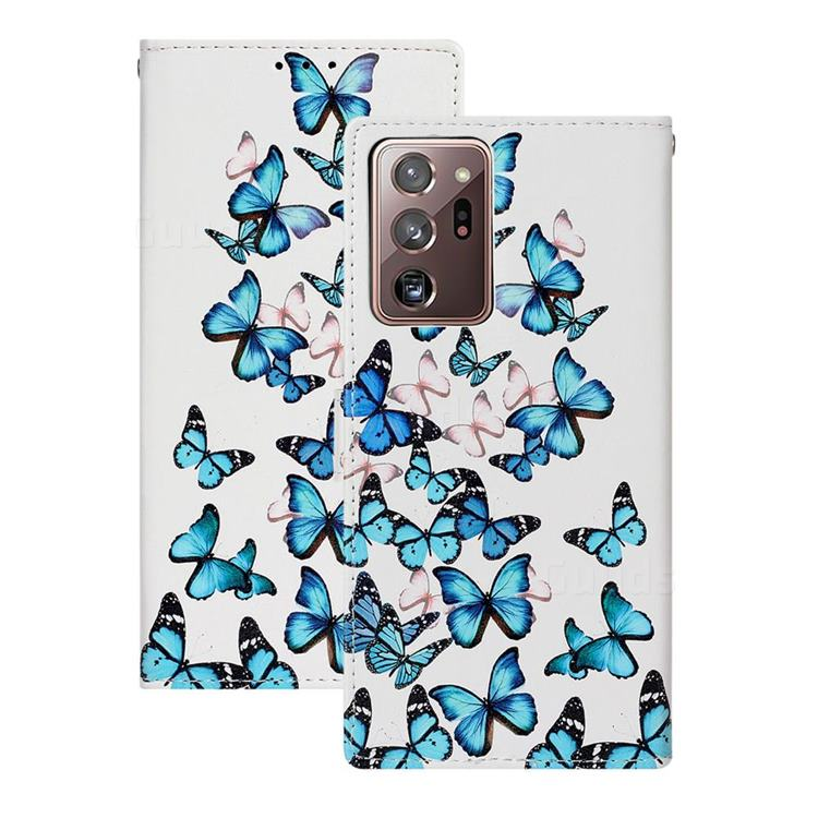 Blue Vivid Butterflies PU Leather Wallet Case for Samsung Galaxy Note 20 Ultra
